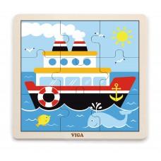 Puzzle na doske 9 prvkov - loď